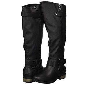 Hansel Zipper and Buckle Knee-High Riding Boot